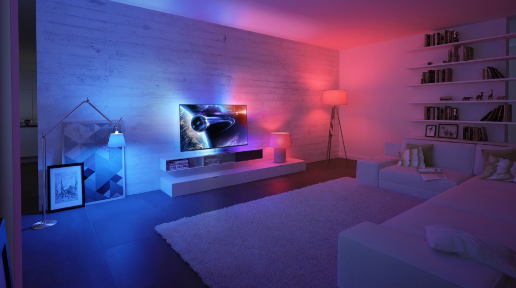 philips ambilight hue la tv contr le les lumi res du. Black Bedroom Furniture Sets. Home Design Ideas